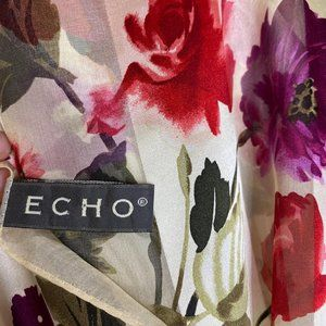 Echo Rose Floral 100% Silk Rectangle Scarf